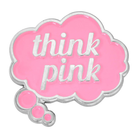 Think Pink Word Bubble Pin Front