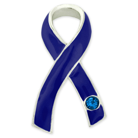 Blue Ribbon with Stone Pin