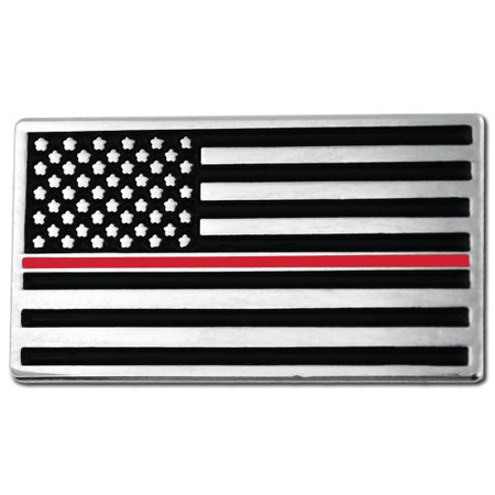 Thin Red Line American Flag Pin Front