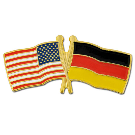 USA and Germany Flag Pin Front