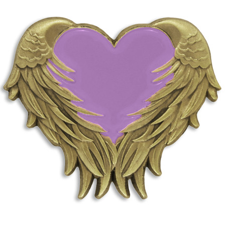 Lavender Heart With Wings Pin Front