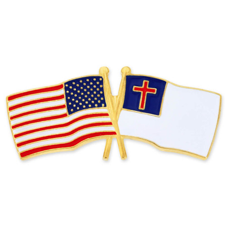 USA and Christian Flag Pin Front