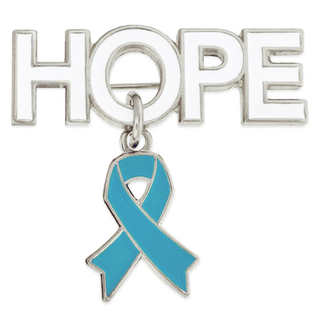 Hope Pin with Light Blue Ribbon Charm