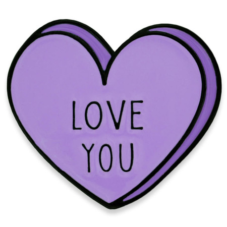 Love You Candy Heart Pin Front