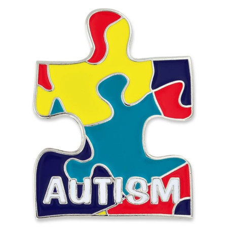 Autism Puzzle Pin with Magnetic Back Front