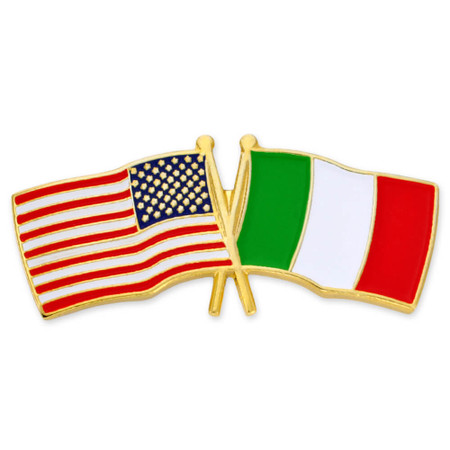 USA and Italy Flag Pin Front