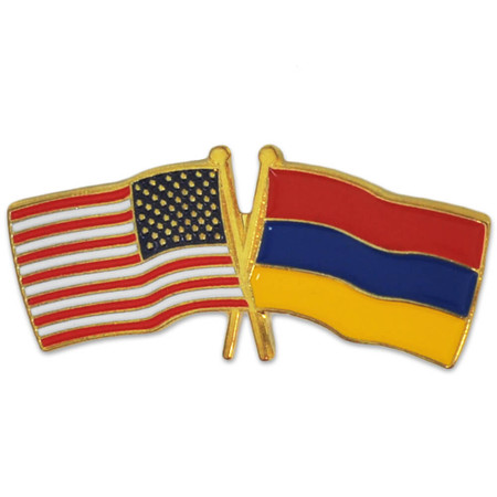 USA and Armenia Crossed Flags Front
