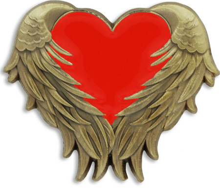 Red Heart with Wings Pin Front