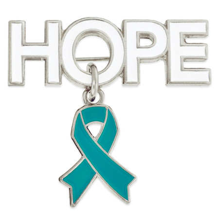 Hope Pin with Teal Ribbon Charm