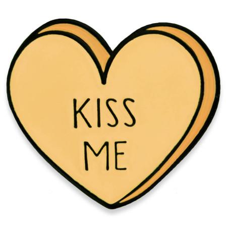 Kiss Me Candy Heart Pin