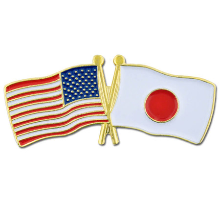 USA and Japan Flag Pin Front