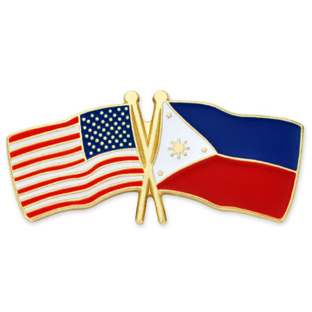 USA and Philippines Flag Pin Front