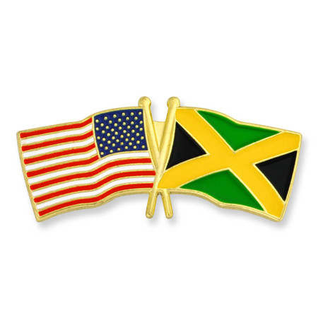 USA and Jamaica Flag Pin