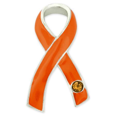 Orange Awareness Ribbon with Stone Pin