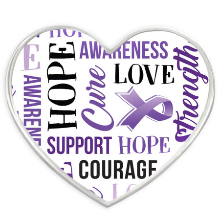 Purple Heart Awareness Words Pin Front