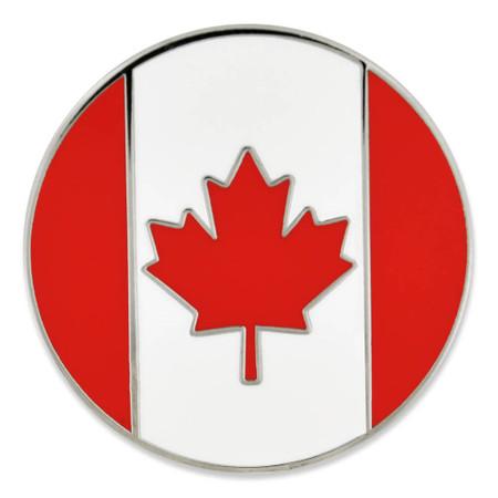 Canada Flag Circle Pin Front