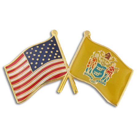 New Jersey and USA Crossed Flag Pin Front