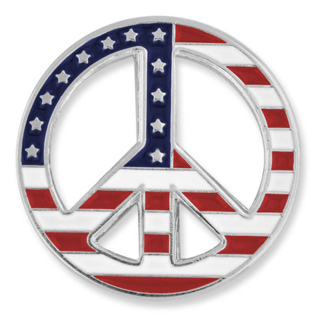 American Flag Peace Sign Pin Front