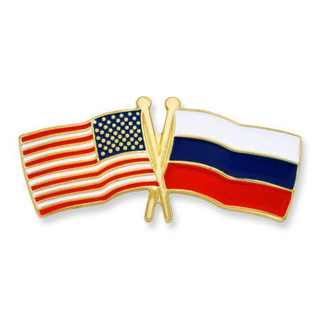 USA and Russia Flag Pin Front