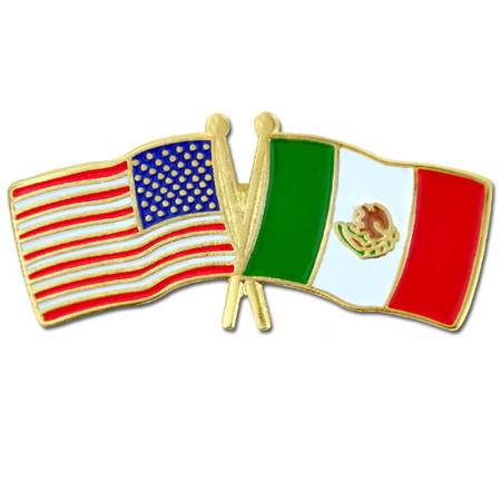 USA and Mexico Flag Pin