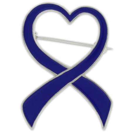 Blue Heart Ribbon Brooch Front