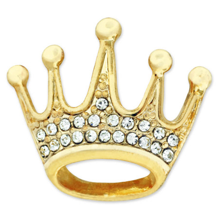 Gold Plated Rhinestone Crown Pin Front