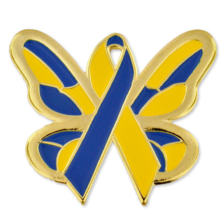 Down Syndrome Butterfly Ribbon Pin Front