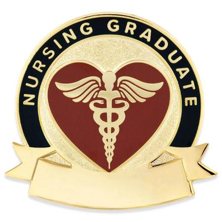 Nursing Grad Caduceus Pin-Engravable Front