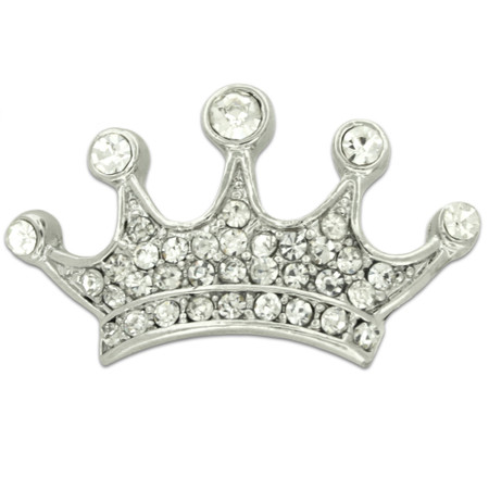 Large Silver Rhinestone Crown Pin Front