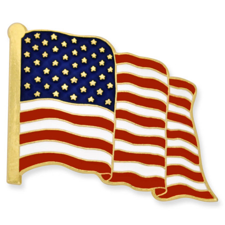 Waving American Flag Gold Pin - Made in the U.S.A. Front