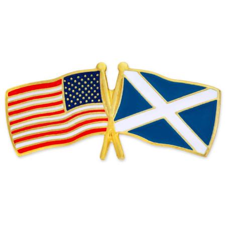 USA and Scotland Flag Pin Front