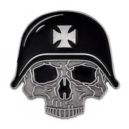 Biker Skull with Helmet Pin Front