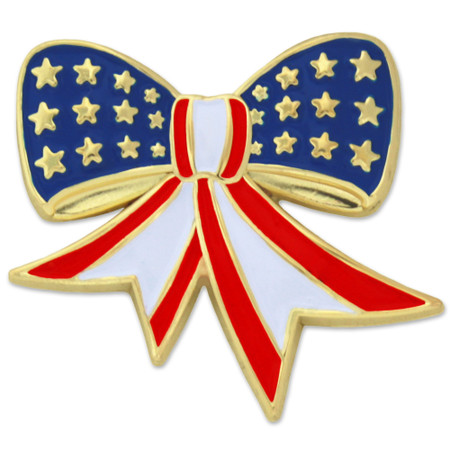 American Flag Bow Pin Front