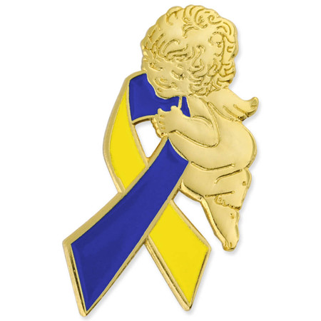 Down Syndrome Ribbon Angel Pin Front