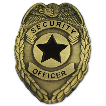 Security Officer Badge Lapel Pin - Antique Gold Front