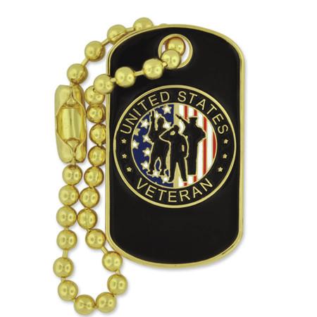 Veteran Dog Tag Pin Front