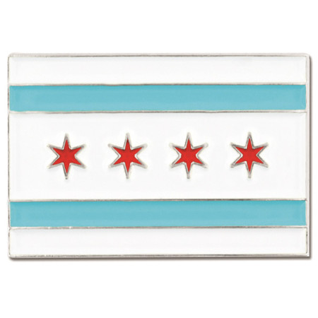 Rectangle Chicago Flag Pin Front