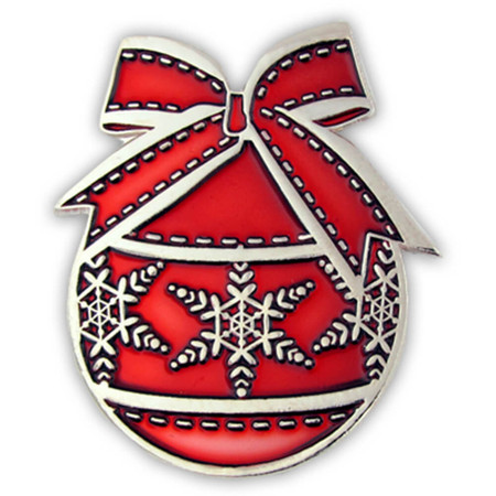 Christmas Ornament Pin - Red Front