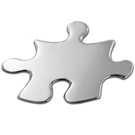 Silver Puzzle Piece Pin Front