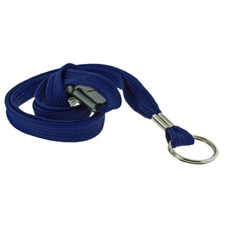 Blue Tube Lanyard with Split Key Ring and Breakaway