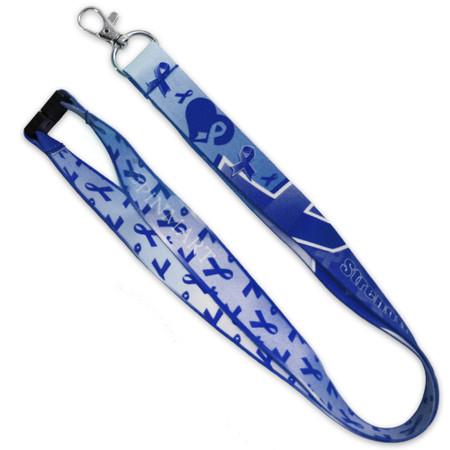 Blue Awareness Ribbon Lanyard Front