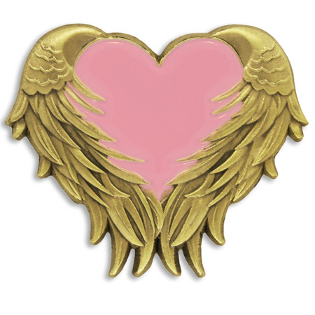 Pink Heart with Wings Pin Front