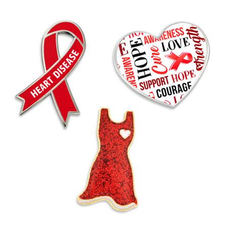 Heart Disease Awareness 3-Pin Set Front