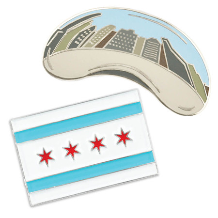 Chicago Bean and Flag 2-Pin Set Front