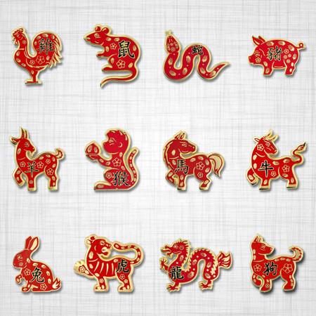 Chinese Zodiac 12 Pin Set