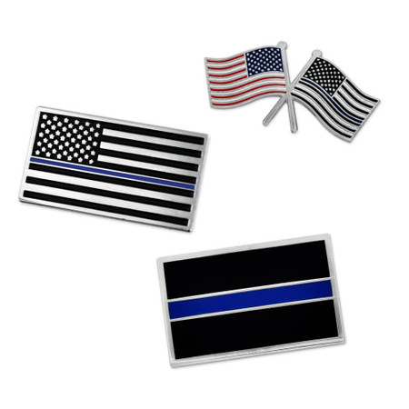 Thin Blue Line 3-Pin Set Front
