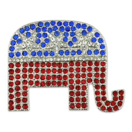 Rhinestone Republican Elephant Pin Front