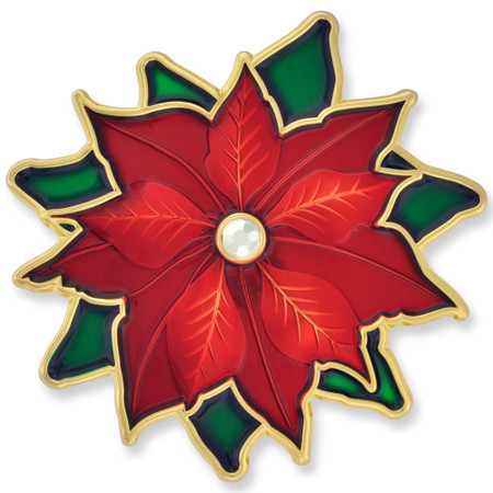 Poinsettia Christmas Brooch Front