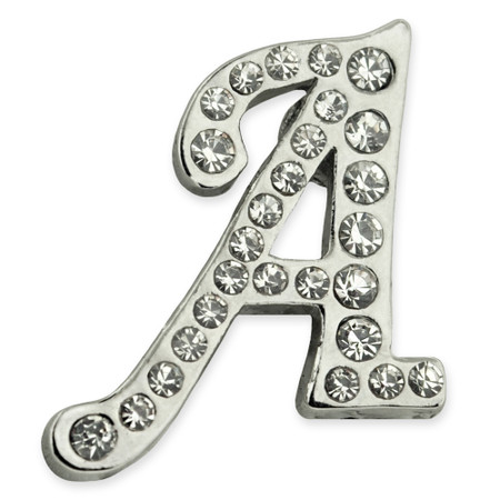 Rhinestone Letter A Pin Front