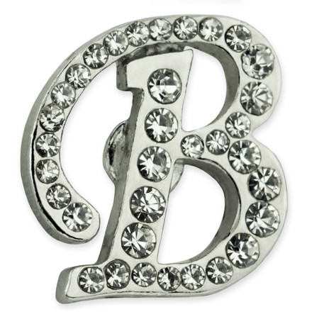 Rhinestone Letter B Pin Front
